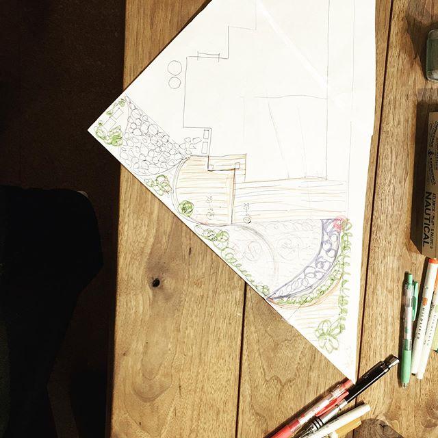 追加のデザインがあがってきた^ ^どこまで日曜大工でできるか#日曜大工#diy#庭造り#奥さまはデザイナー#円で構成するデザイン